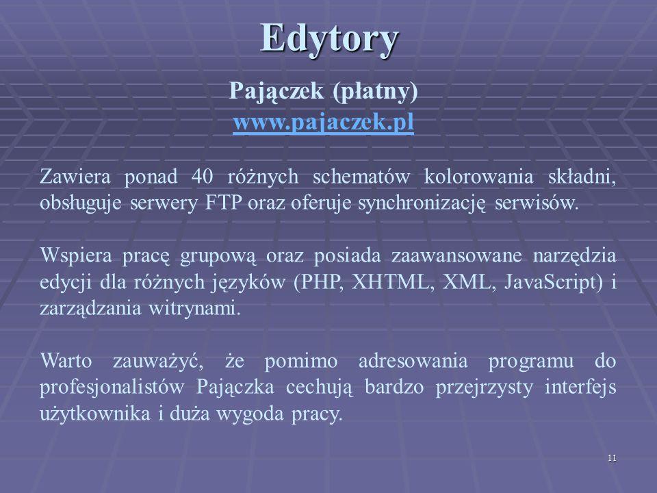 Edytory Pajączek (płatny) www.pajaczek.pl