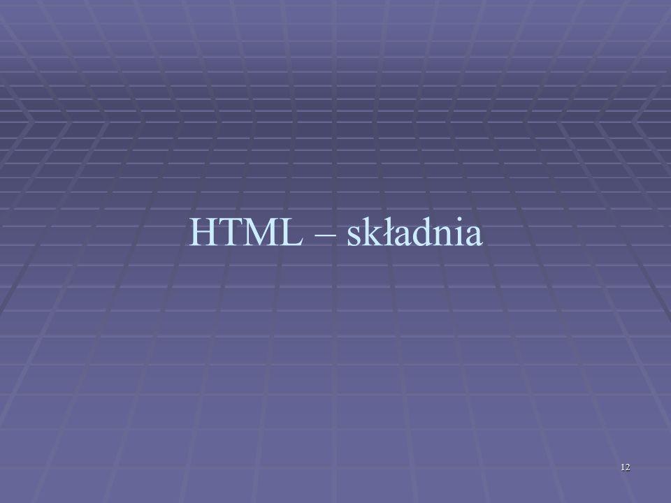 HTML – składnia