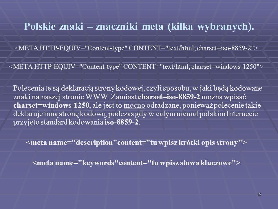 Polskie znaki – znaczniki meta (kilka wybranych).