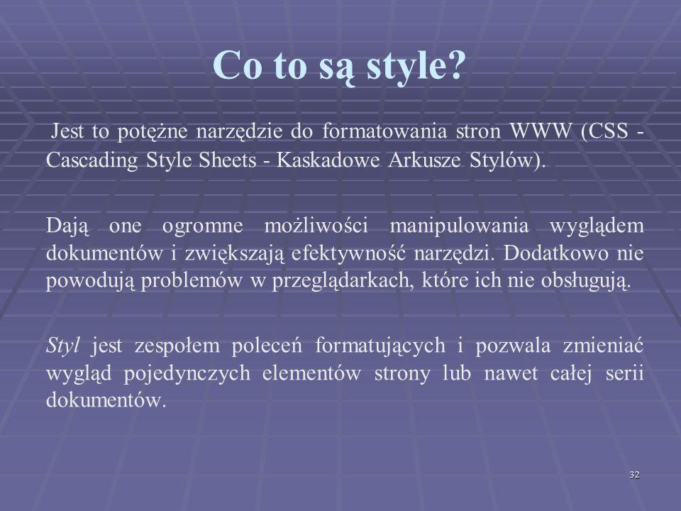 Co to są style Jest to potężne narzędzie do formatowania stron WWW (CSS - Cascading Style Sheets - Kaskadowe Arkusze Stylów).