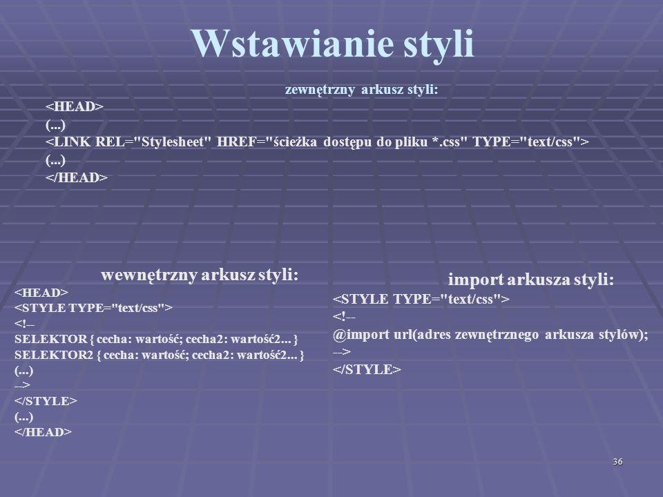 zewnętrzny arkusz styli: wewnętrzny arkusz styli: