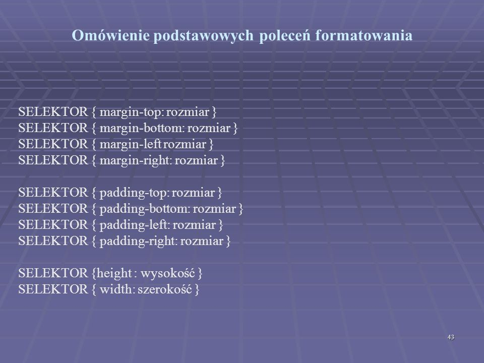 Omówienie podstawowych poleceń formatowania