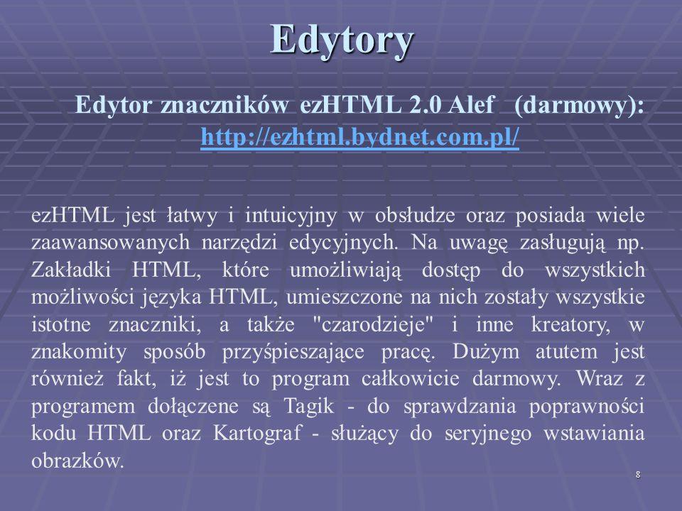 Edytor znaczników ezHTML 2.0 Alef (darmowy):
