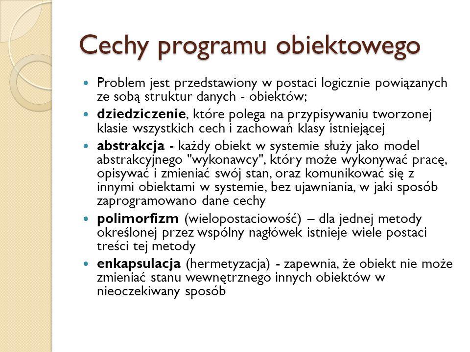 Cechy programu obiektowego