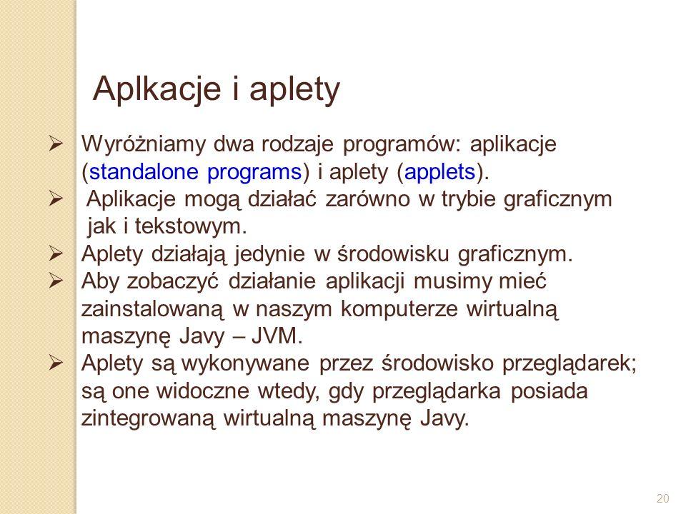Aplkacje i aplety Wyróżniamy dwa rodzaje programów: aplikacje (standalone programs) i aplety (applets).