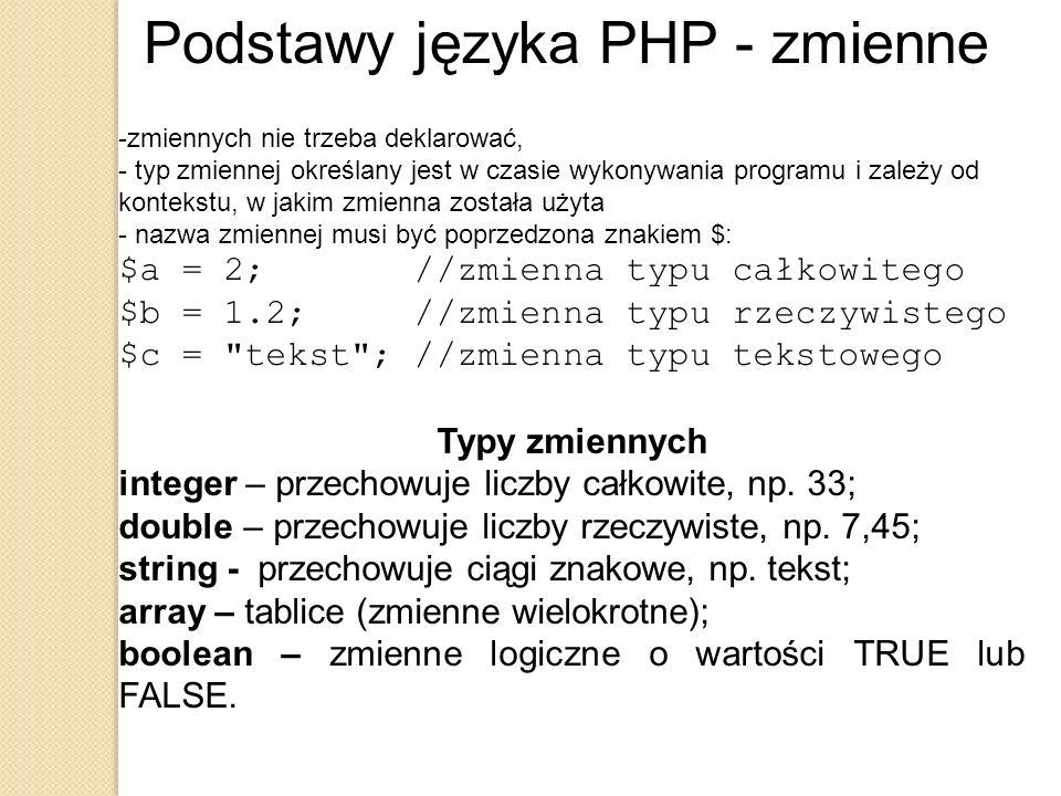 Podstawy języka PHP - zmienne