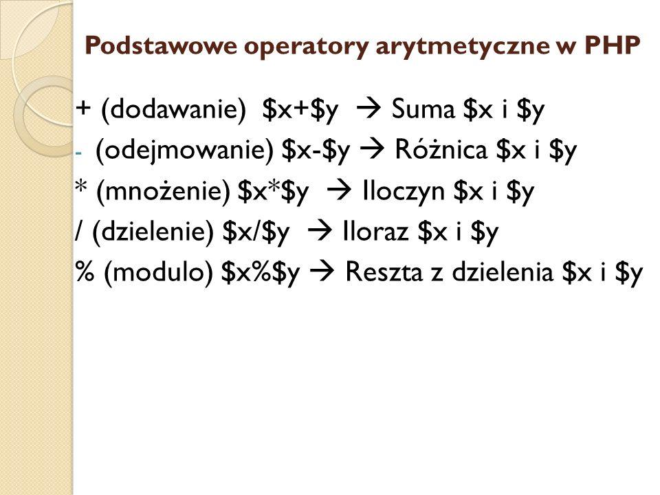 Podstawowe operatory arytmetyczne w PHP