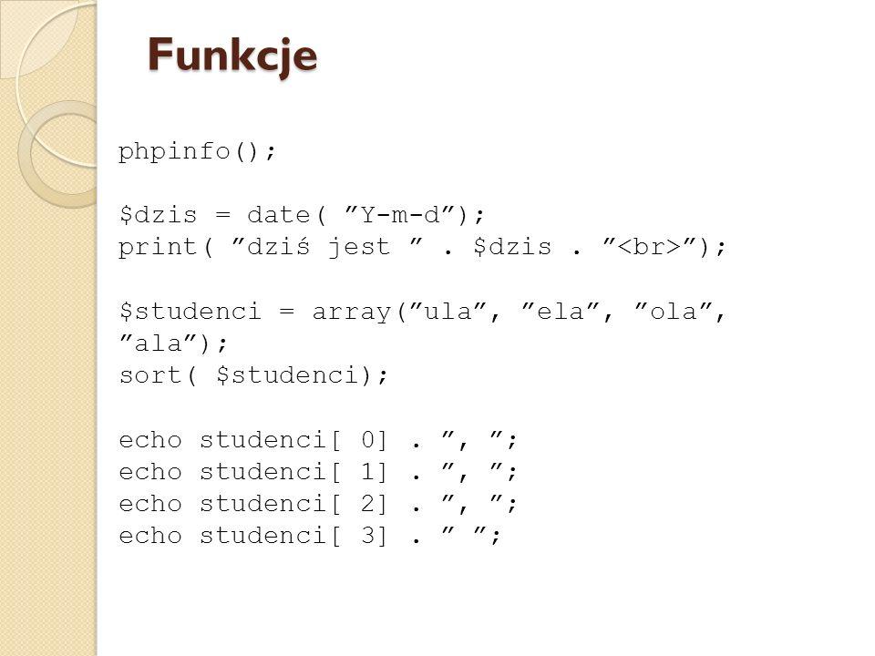 Funkcje phpinfo(); $dzis = date( Y-m-d );
