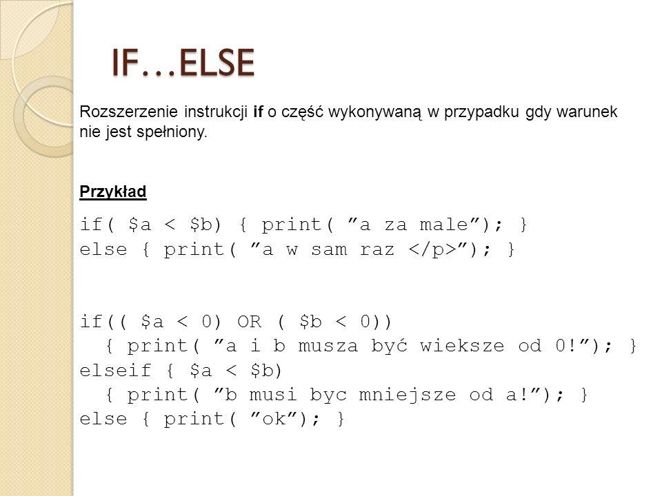 IF…ELSE Rozszerzenie instrukcji if o część wykonywaną w przypadku gdy warunek nie jest spełniony. Przykład.