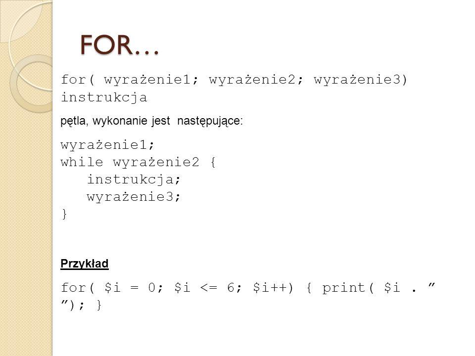 FOR… for( wyrażenie1; wyrażenie2; wyrażenie3) instrukcja