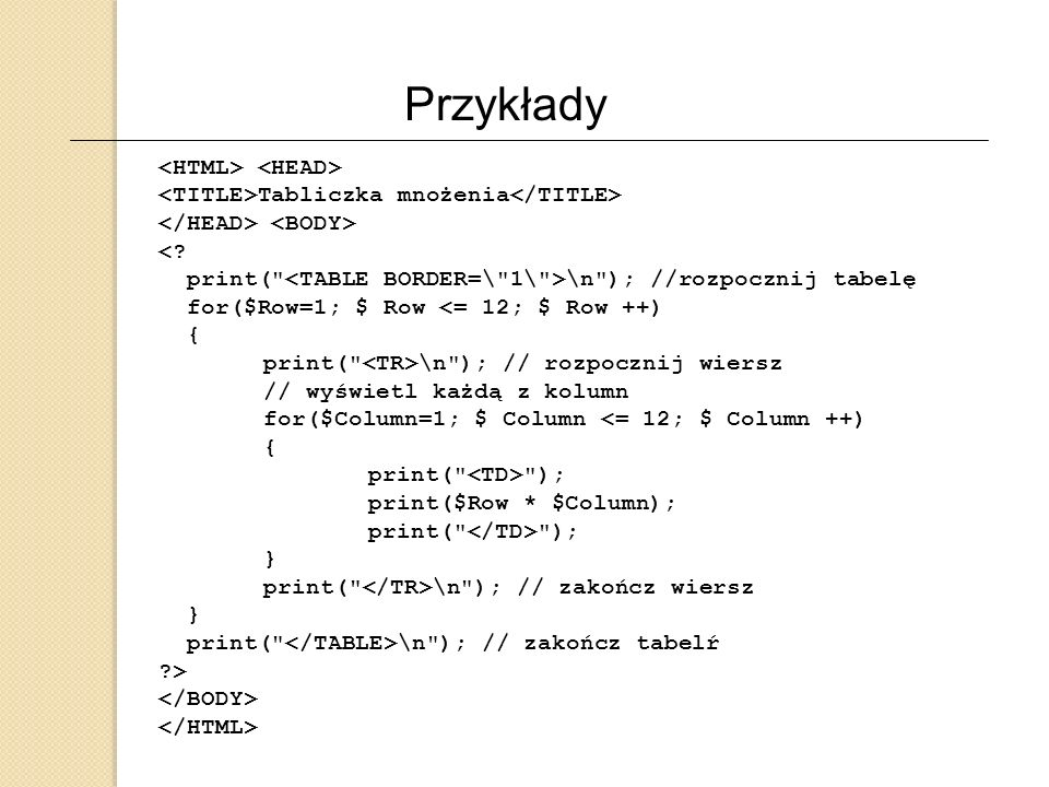 Przykłady <HTML> <HEAD>