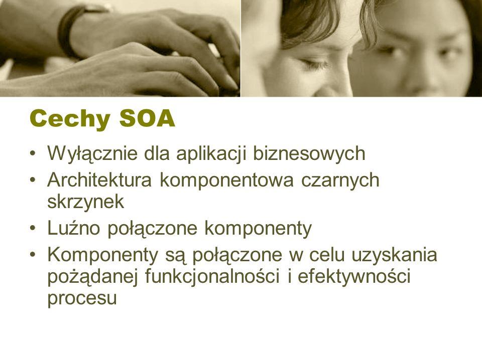 Cechy SOA Wyłącznie dla aplikacji biznesowych