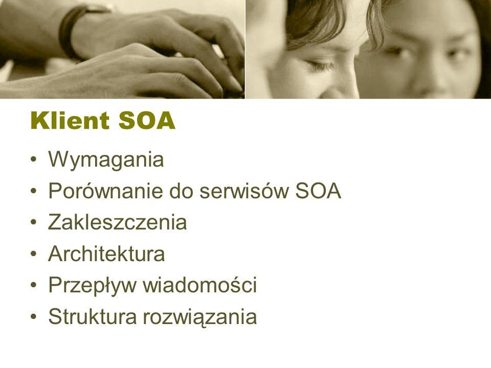 Klient SOA Wymagania Porównanie do serwisów SOA Zakleszczenia
