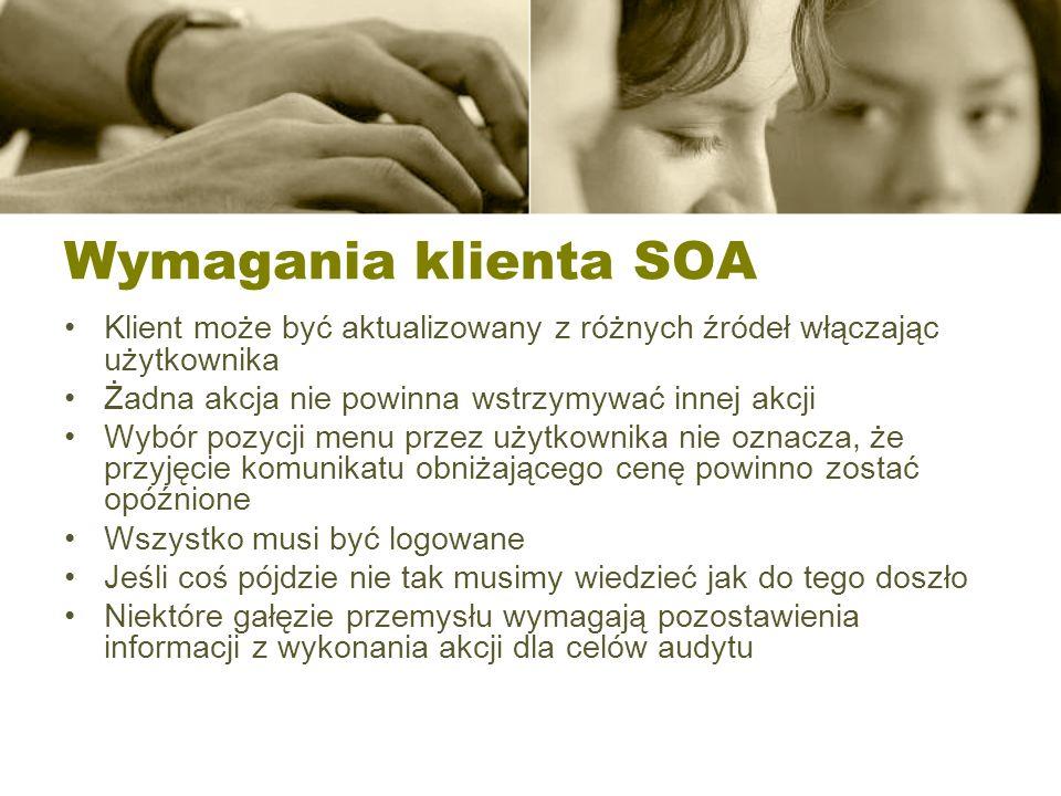 Wymagania klienta SOA Klient może być aktualizowany z różnych źródeł włączając użytkownika. Żadna akcja nie powinna wstrzymywać innej akcji.
