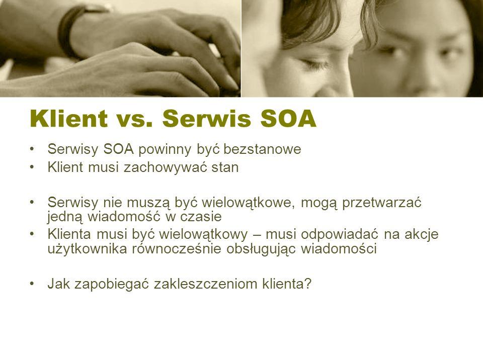 Klient vs. Serwis SOA Serwisy SOA powinny być bezstanowe