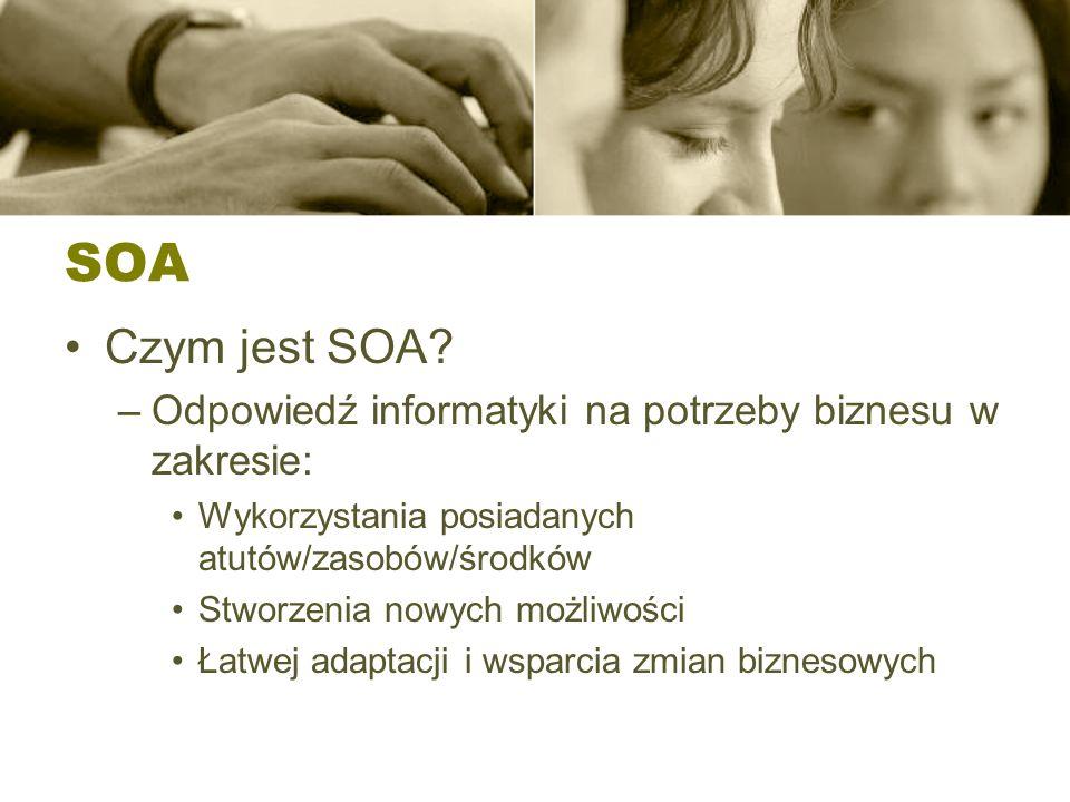 SOA Czym jest SOA Odpowiedź informatyki na potrzeby biznesu w zakresie: Wykorzystania posiadanych atutów/zasobów/środków.