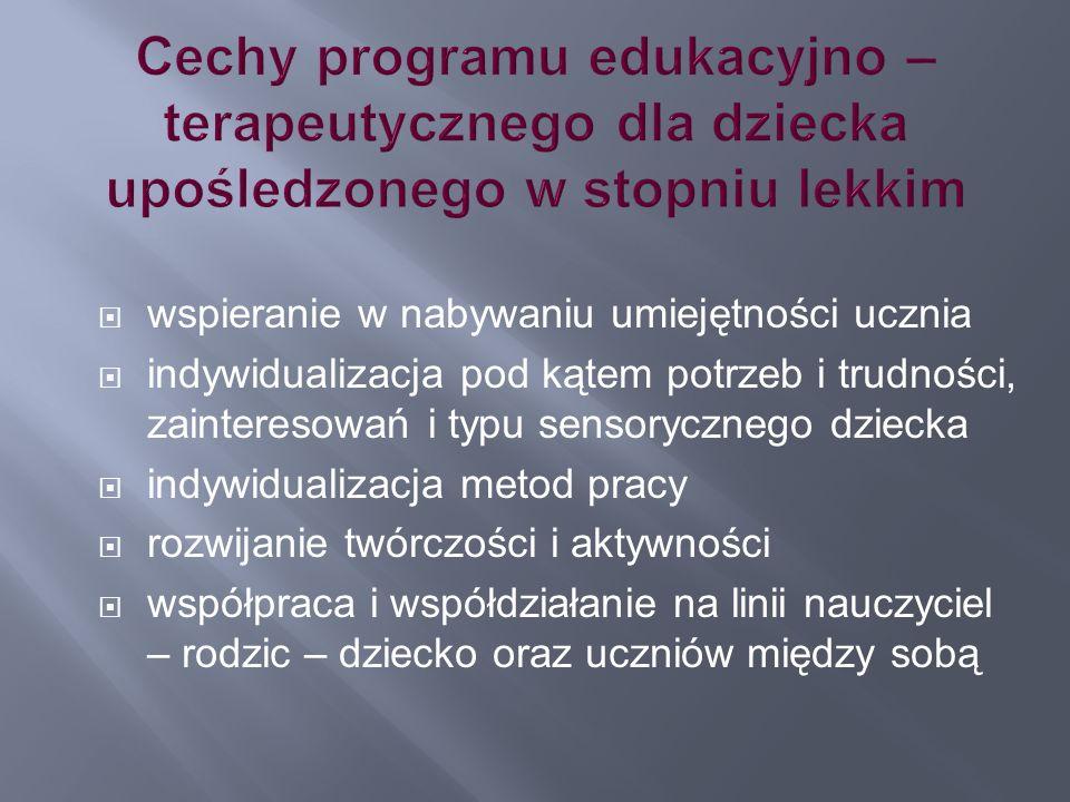 Cechy programu edukacyjno – terapeutycznego dla dziecka upośledzonego w stopniu lekkim