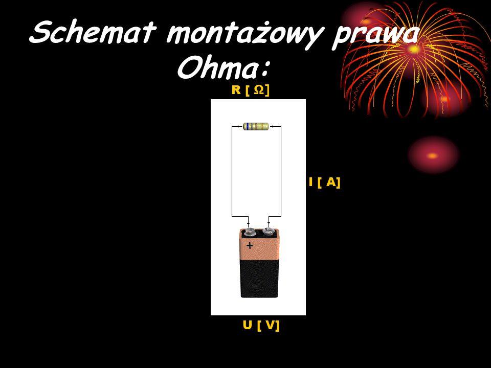 Schemat montażowy prawa Ohma: