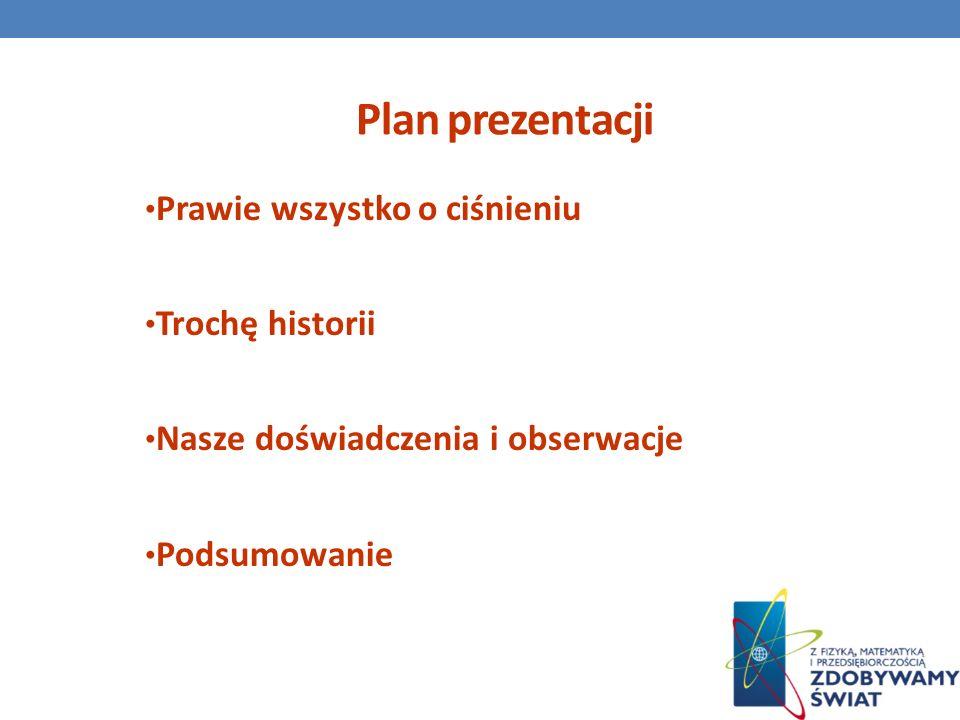 Plan prezentacji Prawie wszystko o ciśnieniu Trochę historii