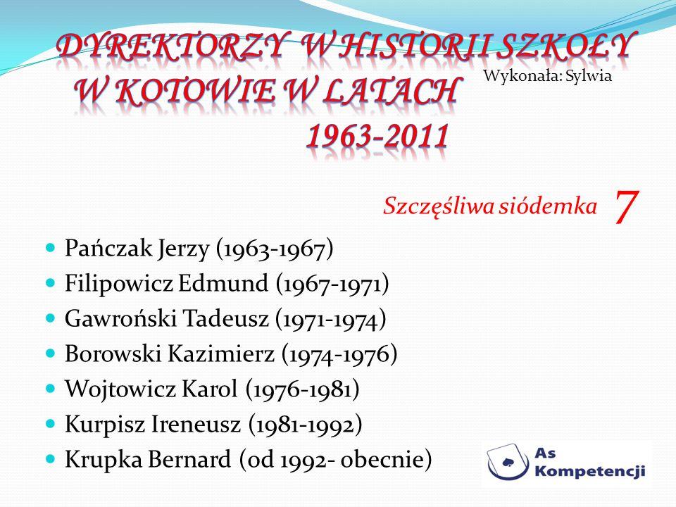 DYREKTORZY W HISTORII SZKOŁY W KOTOWIE W LATACH 1963-2011
