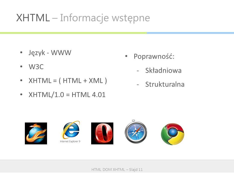 XHTML – Informacje wstępne