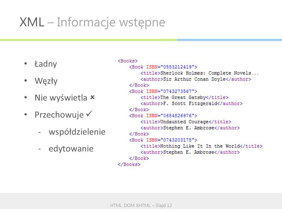 XML – Informacje wstępne