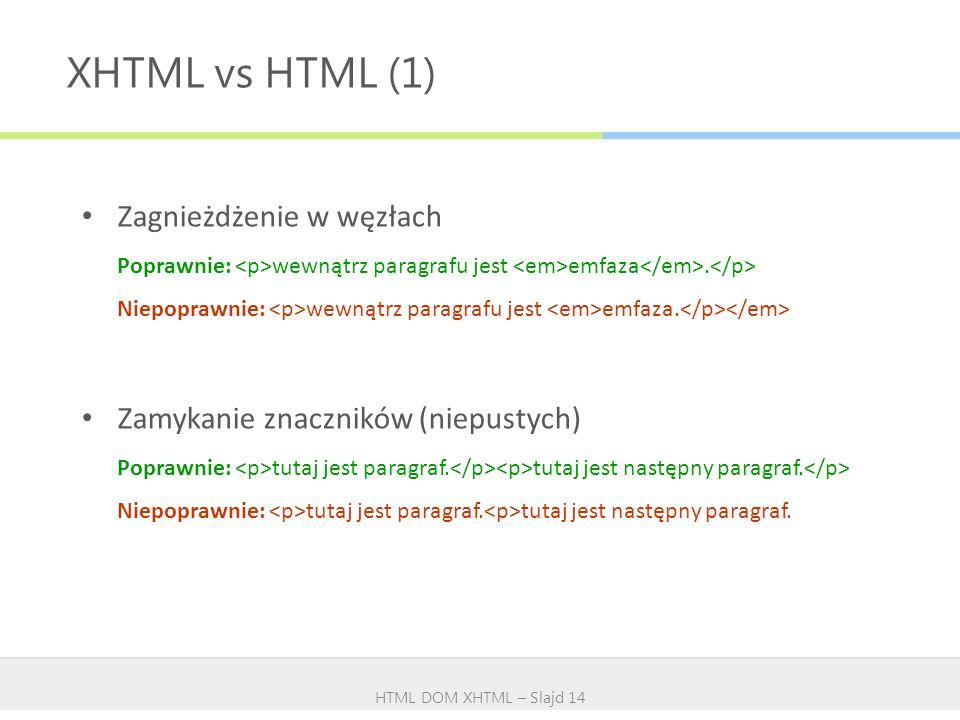XHTML vs HTML (1) Zagnieżdżenie w węzłach