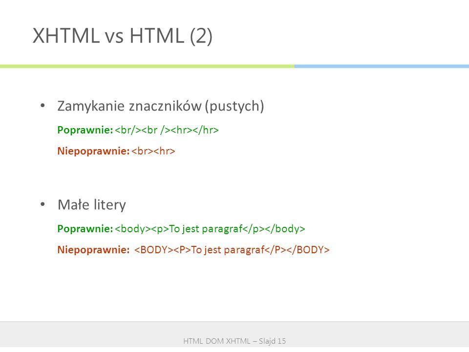 XHTML vs HTML (2) Zamykanie znaczników (pustych) Małe litery
