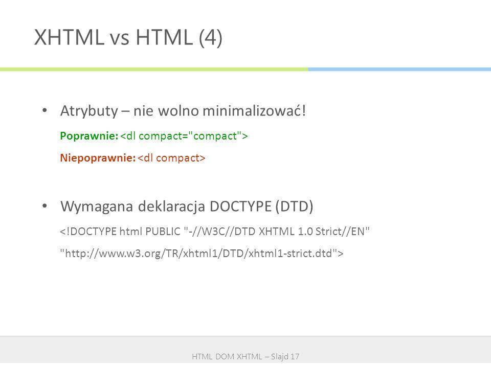 XHTML vs HTML (4) Atrybuty – nie wolno minimalizować!