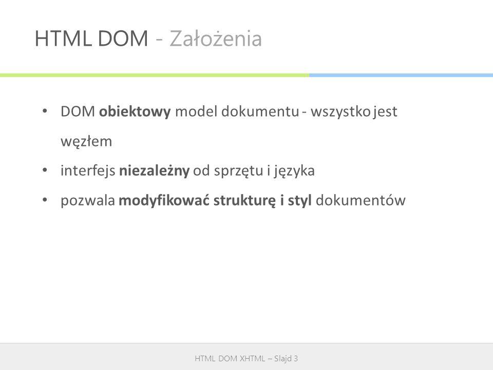 HTML DOM - Założenia DOM obiektowy model dokumentu - wszystko jest węzłem. interfejs niezależny od sprzętu i języka.