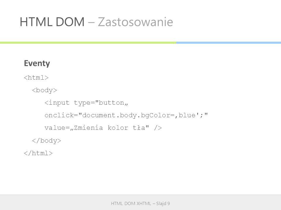 HTML DOM – Zastosowanie