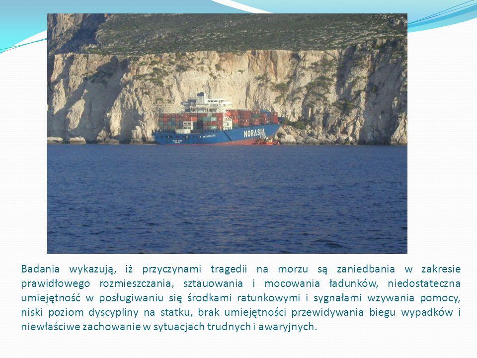 Badania wykazują, iż przyczynami tragedii na morzu są zaniedbania w zakresie prawidłowego rozmieszczania, sztauowania i mocowania ładunków, niedostateczna umiejętność w posługiwaniu się środkami ratunkowymi i sygnałami wzywania pomocy, niski poziom dyscypliny na statku, brak umiejętności przewidywania biegu wypadków i niewłaściwe zachowanie w sytuacjach trudnych i awaryjnych.