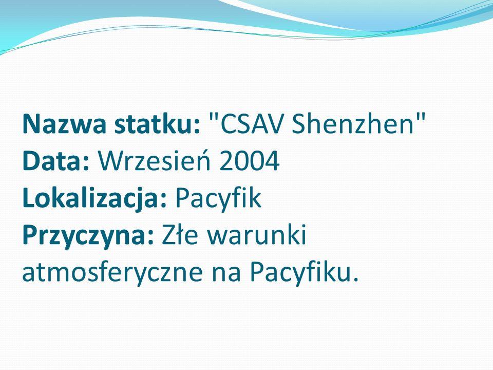 Nazwa statku: CSAV Shenzhen Data: Wrzesień 2004 Lokalizacja: Pacyfik Przyczyna: Złe warunki atmosferyczne na Pacyfiku.