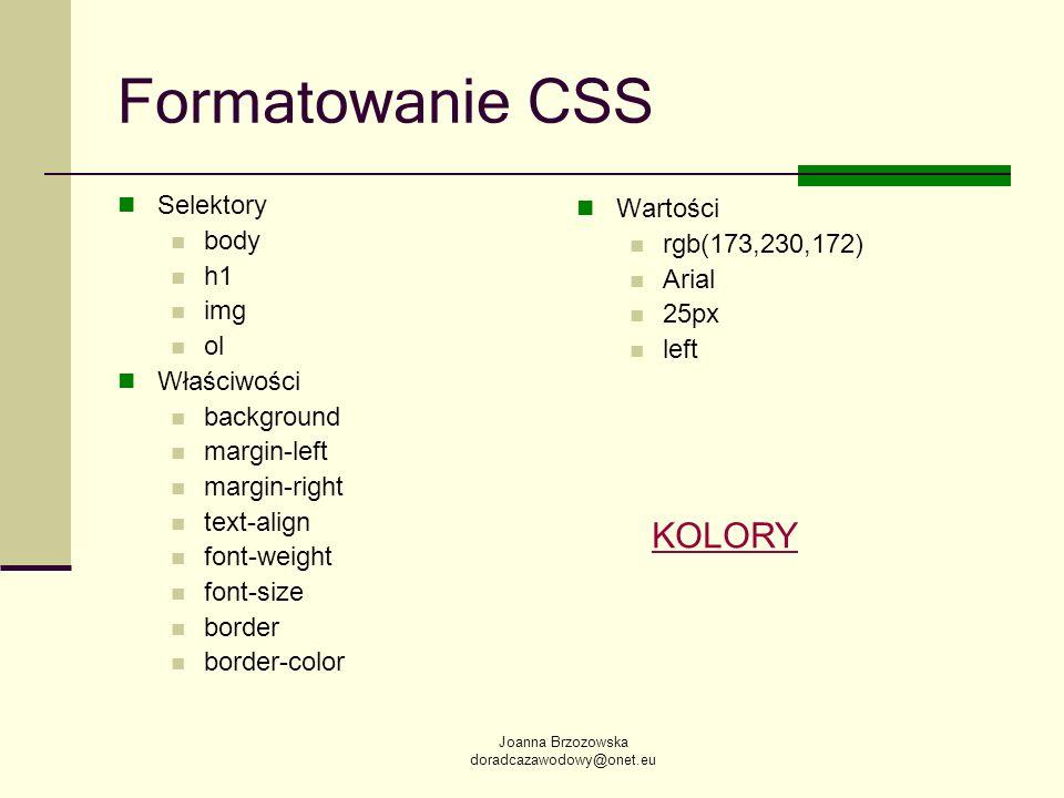Formatowanie CSS KOLORY Selektory Wartości body rgb(173,230,172) h1