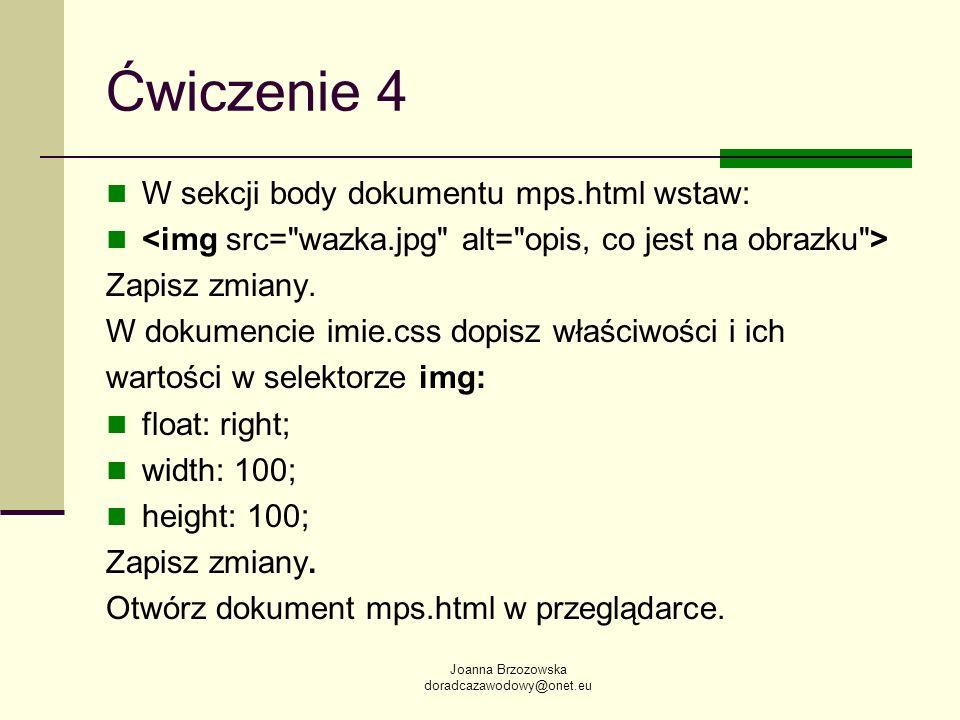 Ćwiczenie 4 W sekcji body dokumentu mps.html wstaw: