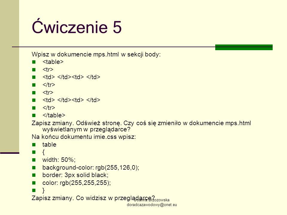 Ćwiczenie 5 Wpisz w dokumencie mps.html w sekcji body: <table>
