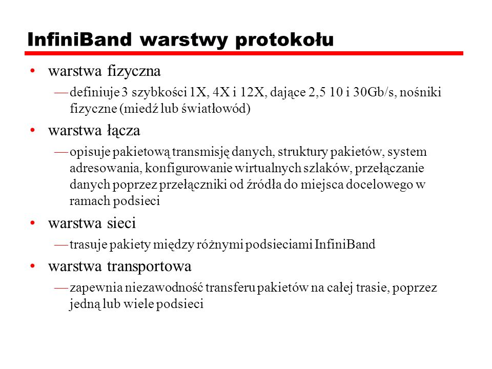 InfiniBand warstwy protokołu