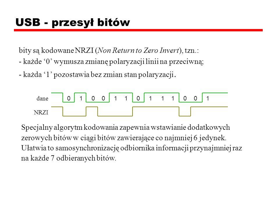 USB - przesył bitów bity są kodowane NRZI (Non Return to Zero Invert), tzn.: - każde '0' wymusza zmianę polaryzacji linii na przeciwną;