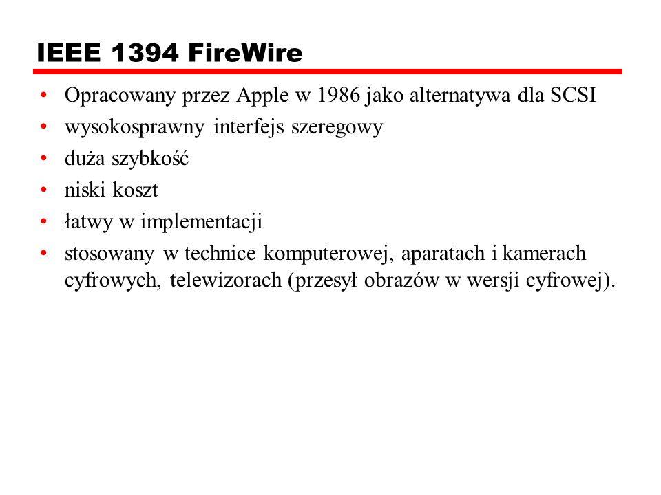 IEEE 1394 FireWire Opracowany przez Apple w 1986 jako alternatywa dla SCSI. wysokosprawny interfejs szeregowy.