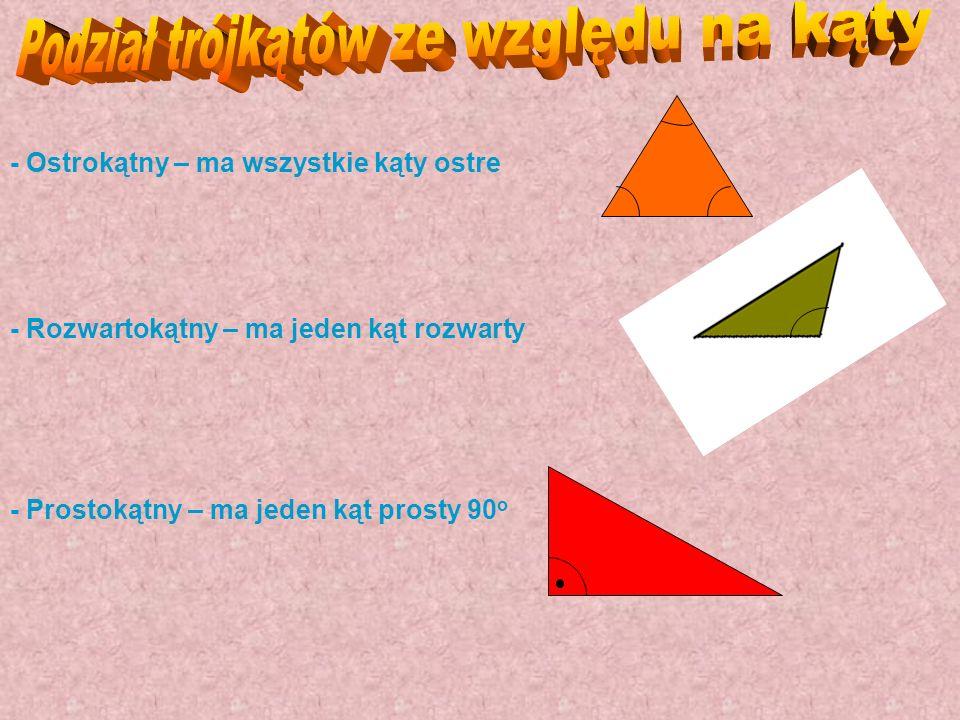 Podział trójkątów ze względu na kąty