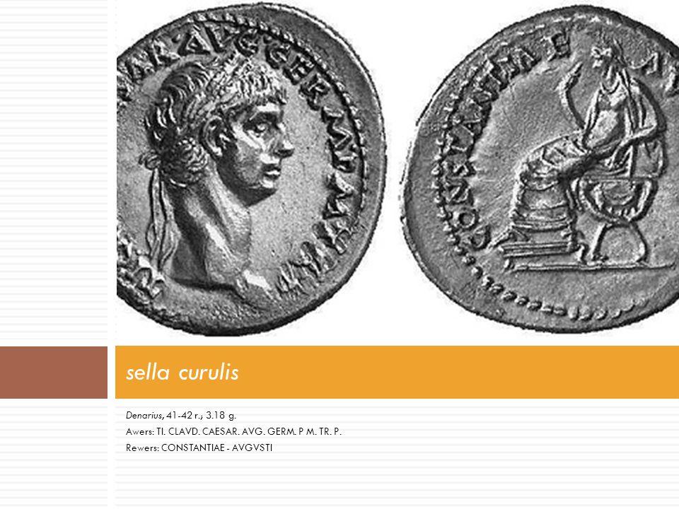 sella curulis Denarius, 41-42 r.; 3.18 g.