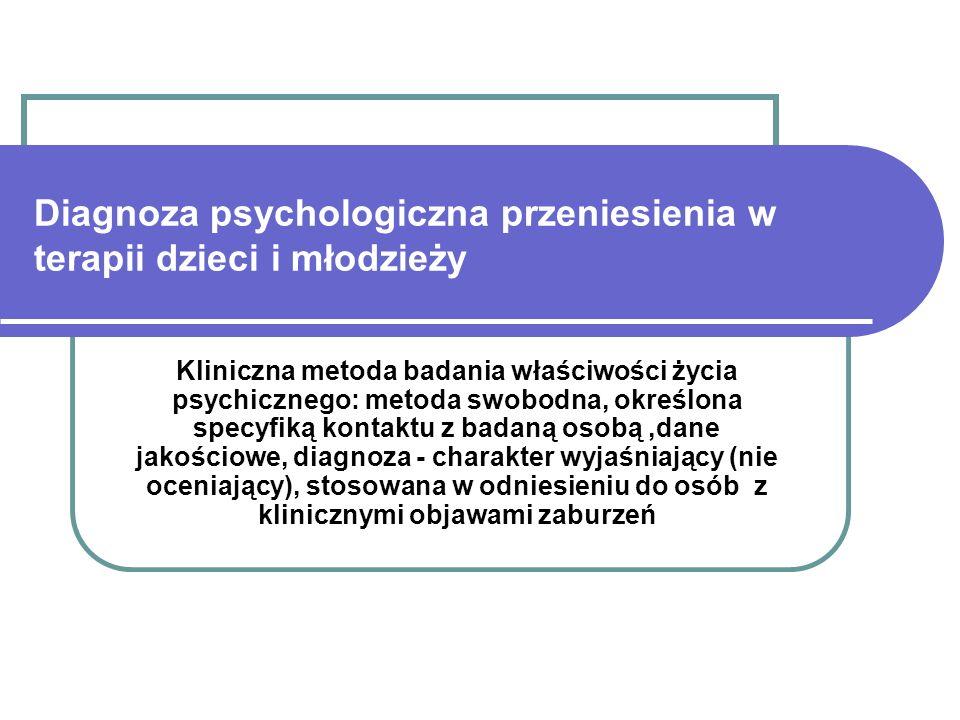 Diagnoza psychologiczna przeniesienia w terapii dzieci i młodzieży