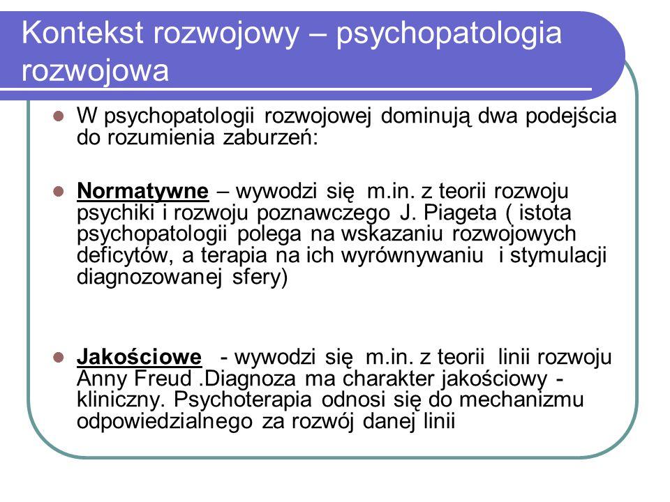 Kontekst rozwojowy – psychopatologia rozwojowa