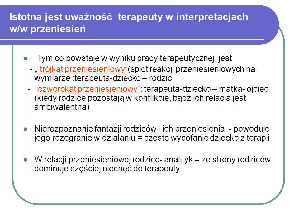 Istotna jest uważność terapeuty w interpretacjach w/w przeniesień