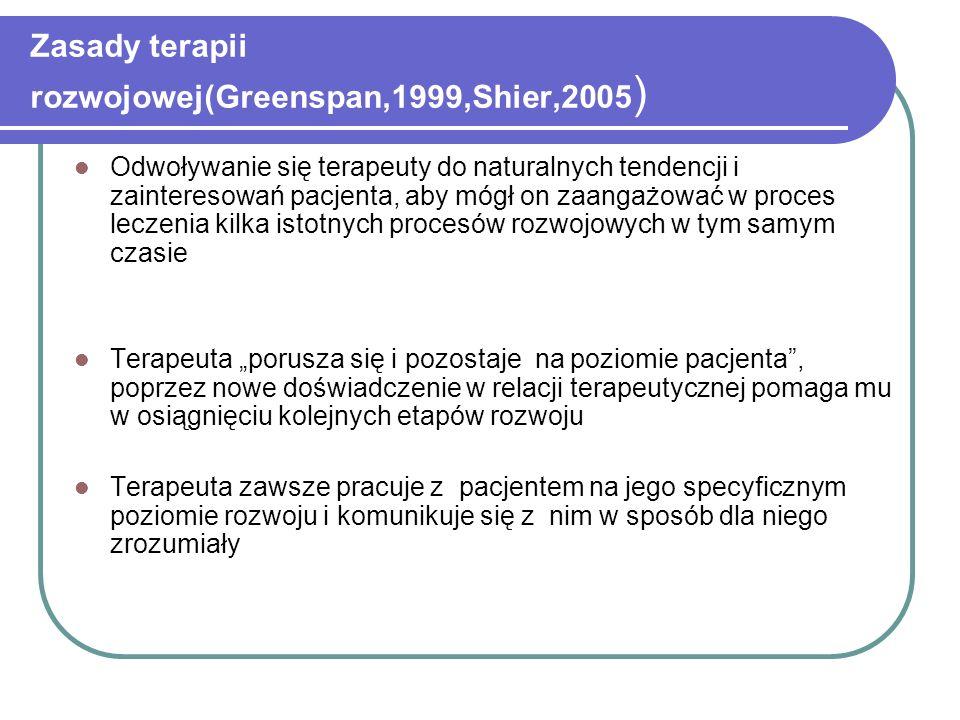 Zasady terapii rozwojowej(Greenspan,1999,Shier,2005)