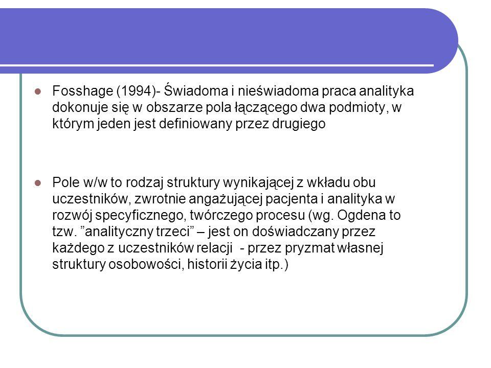 Fosshage (1994)- Świadoma i nieświadoma praca analityka dokonuje się w obszarze pola łączącego dwa podmioty, w którym jeden jest definiowany przez drugiego