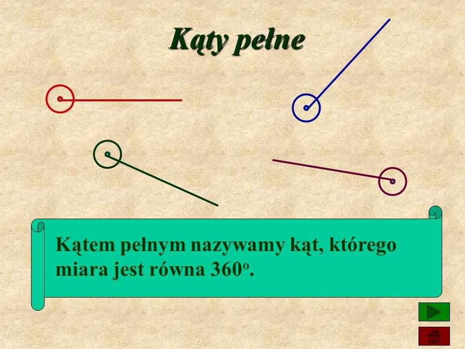 Kąty pełne Kątem pełnym nazywamy kąt, którego miara jest równa 360o.