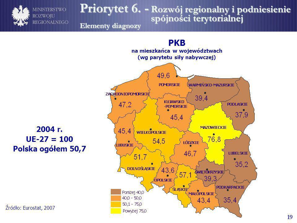 PKB na mieszkańca w województwach (wg parytetu siły nabywczej)
