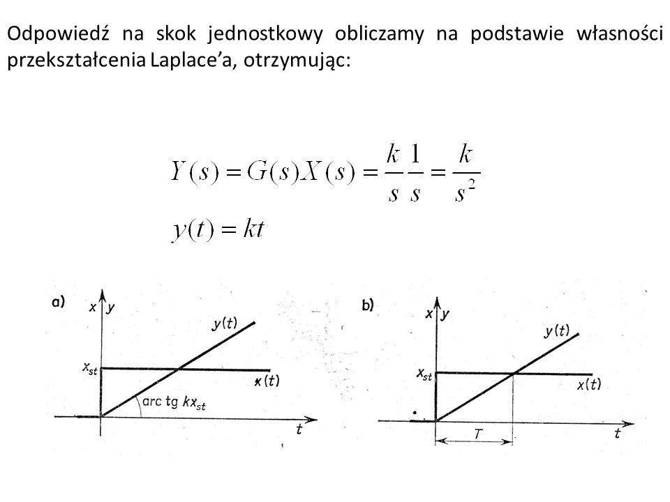 Odpowiedź na skok jednostkowy obliczamy na podstawie własności przekształcenia Laplace'a, otrzymując: