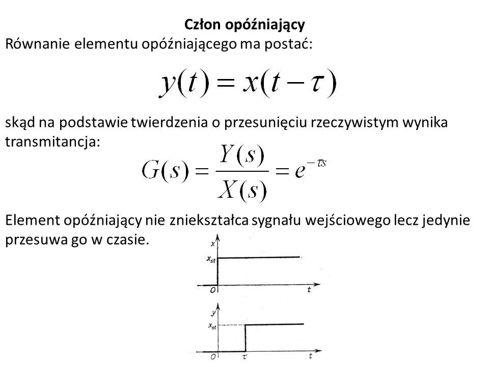 Człon opóźniający Równanie elementu opóźniającego ma postać: skąd na podstawie twierdzenia o przesunięciu rzeczywistym wynika transmitancja: